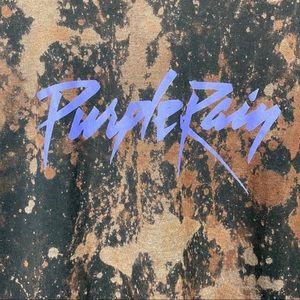 Prince Tops - Prince Purple Rain Bleached Graphic Music Tee M BB